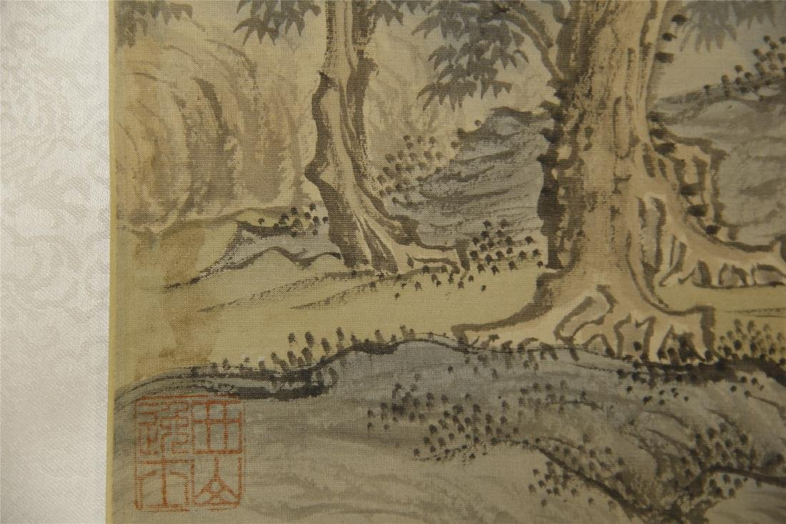 A  Chinese Silk Scroll Painting of Landsape by Pu Ru - 8