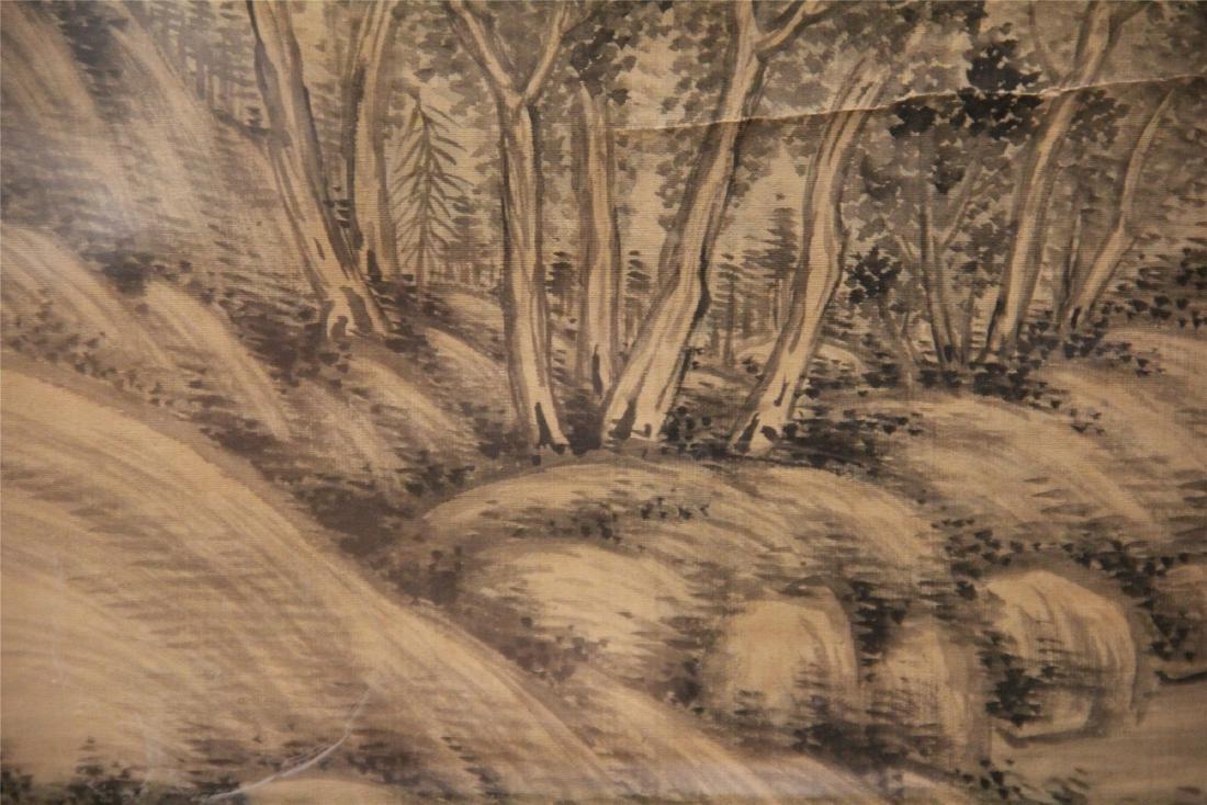 A Chinese Silk Scroll Painting of Landscape by Wu Li - 10