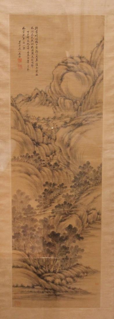 A Chinese Silk Scroll Painting of Landscape by Wu Li
