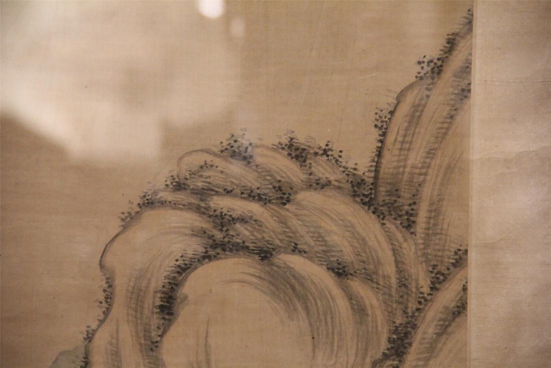 A Chinese Silk Scroll Painting of Landscape by Wu Li - 3