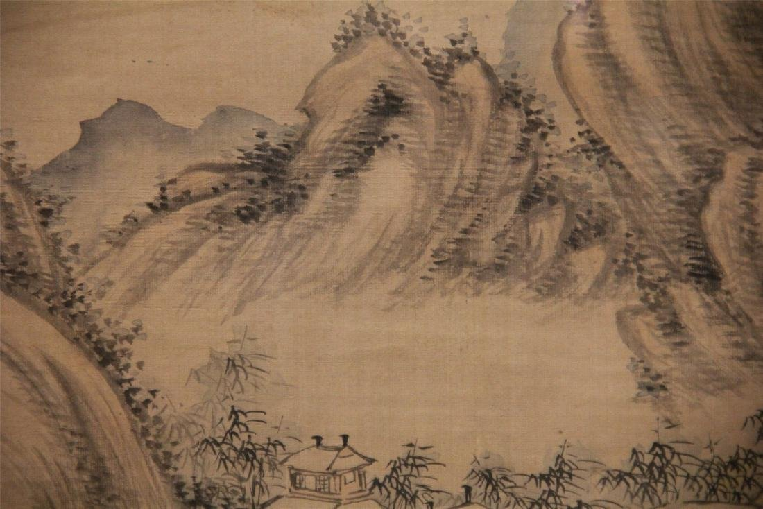 A Chinese Silk Scroll Painting of Landscape by Wu Li - 4
