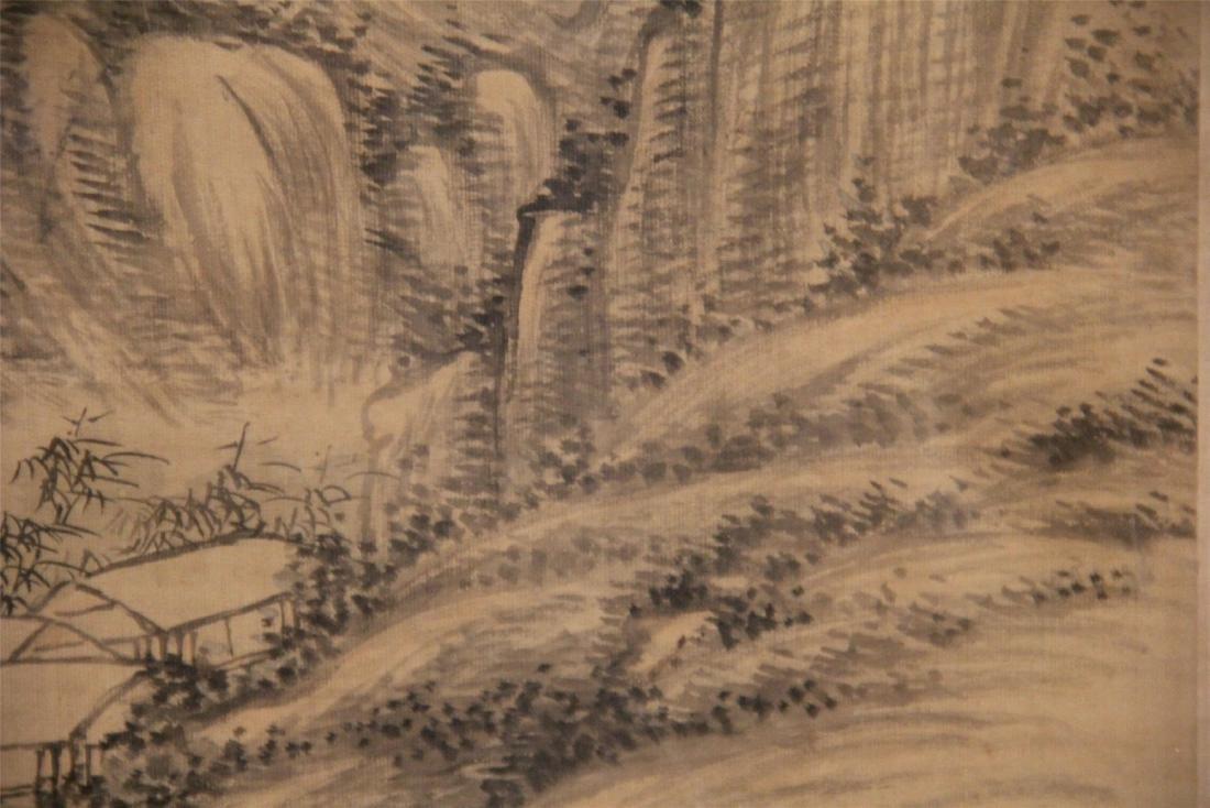 A Chinese Silk Scroll Painting of Landscape by Wu Li - 5