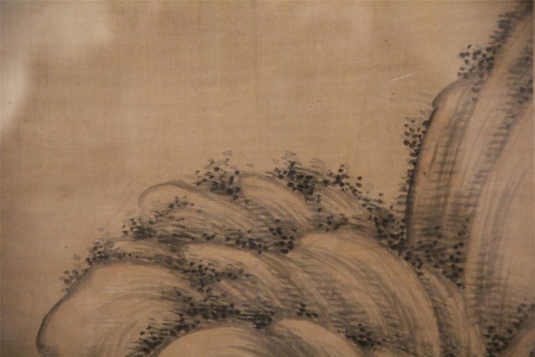 A Chinese Silk Scroll Painting of Landscape by Wu Li - 6