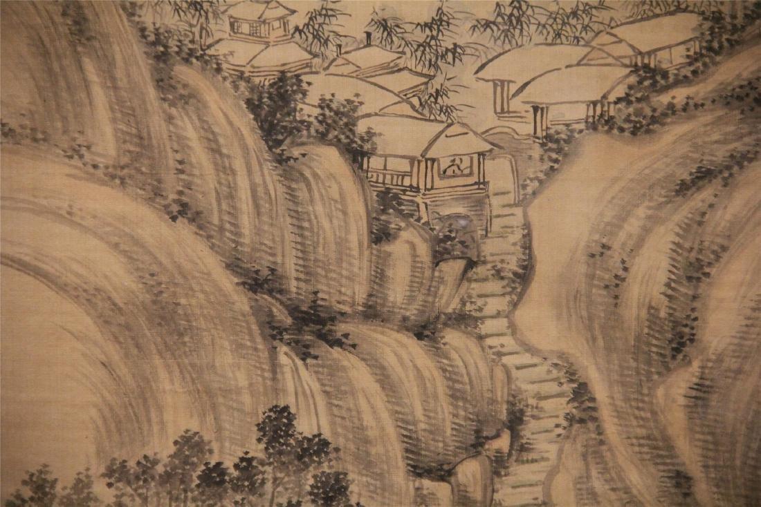 A Chinese Silk Scroll Painting of Landscape by Wu Li - 7