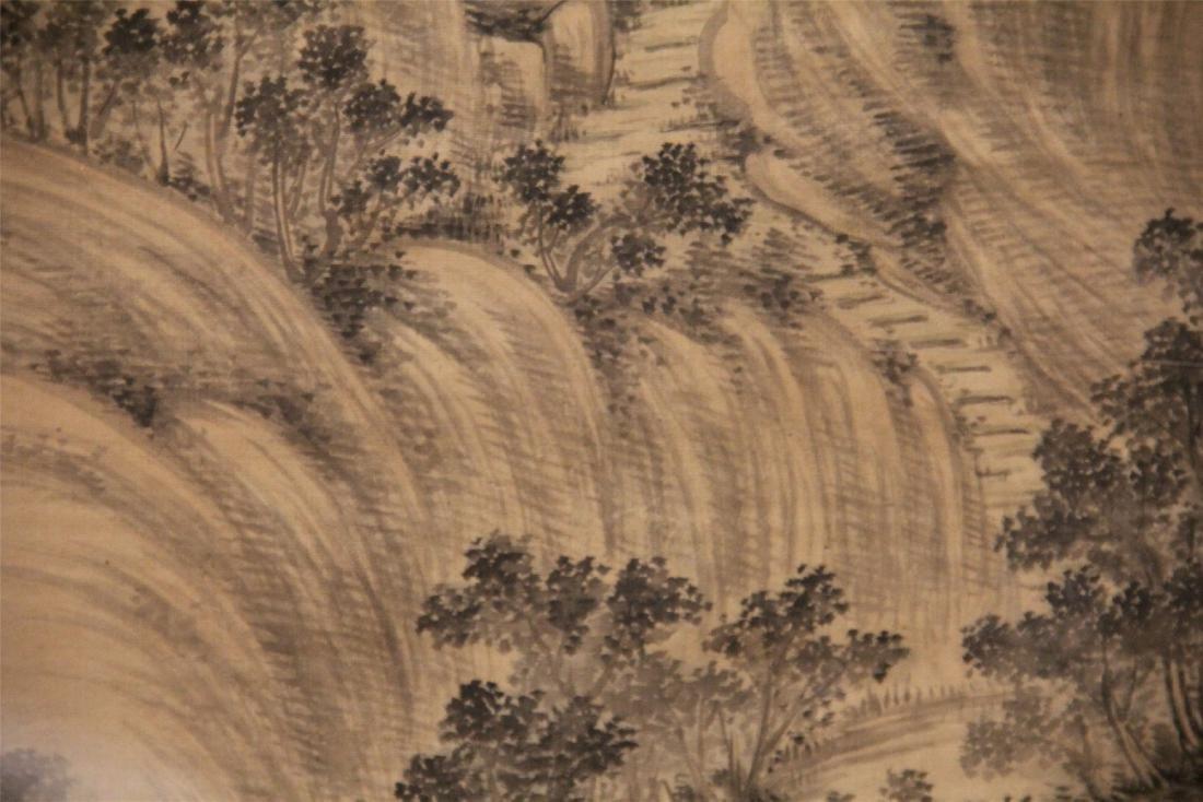 A Chinese Silk Scroll Painting of Landscape by Wu Li - 8