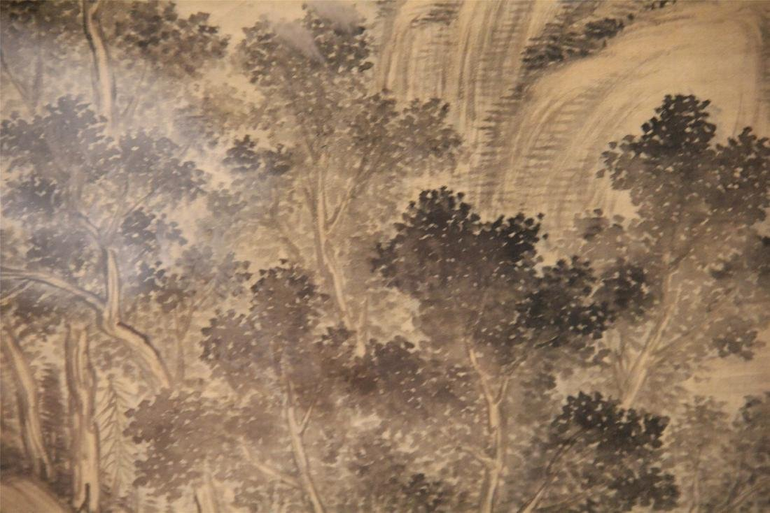 A Chinese Silk Scroll Painting of Landscape by Wu Li - 9