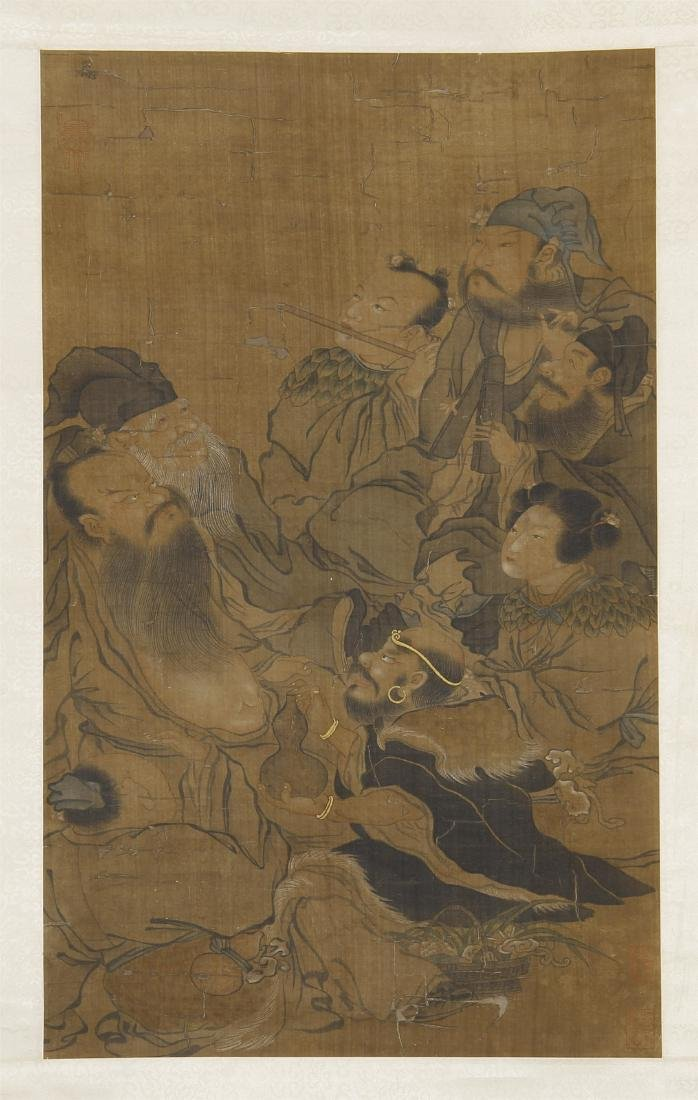 An Anonymous Chinese Silk Scroll Painting of Eight