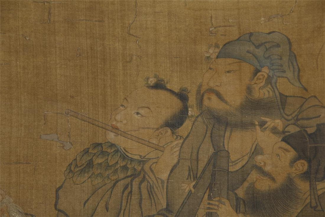 An Anonymous Chinese Silk Scroll Painting of Eight - 3