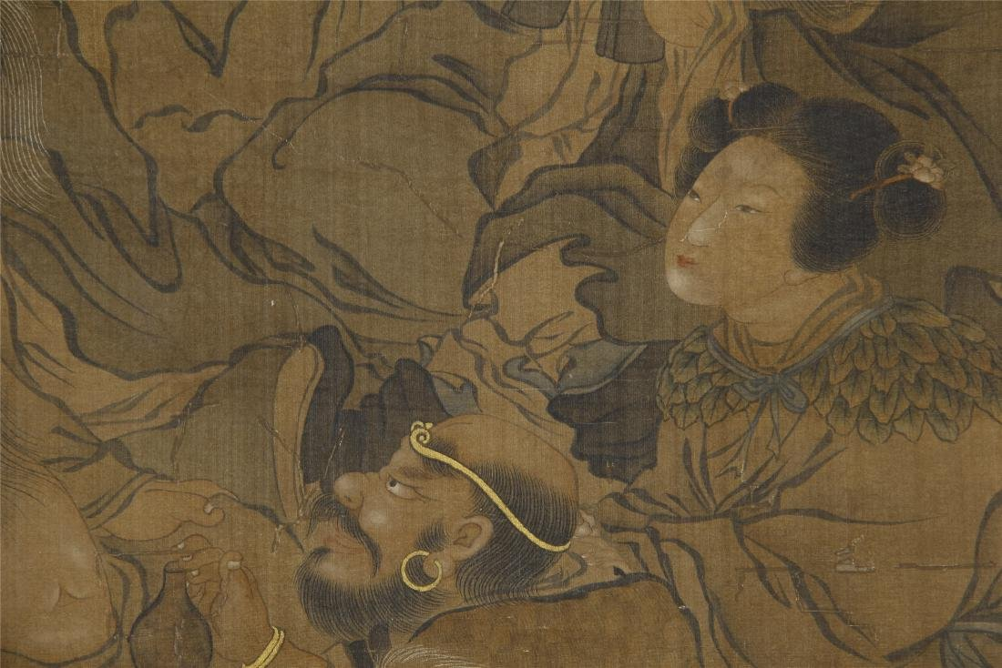 An Anonymous Chinese Silk Scroll Painting of Eight - 4