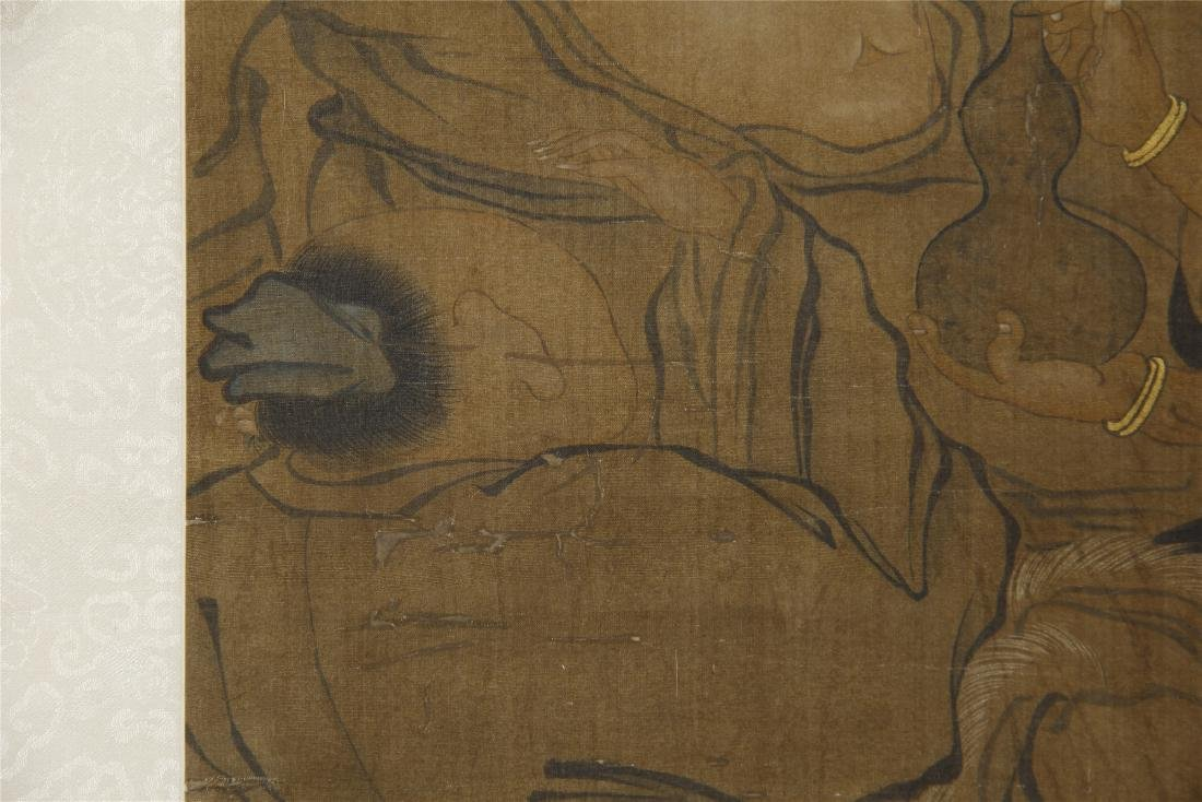 An Anonymous Chinese Silk Scroll Painting of Eight - 6