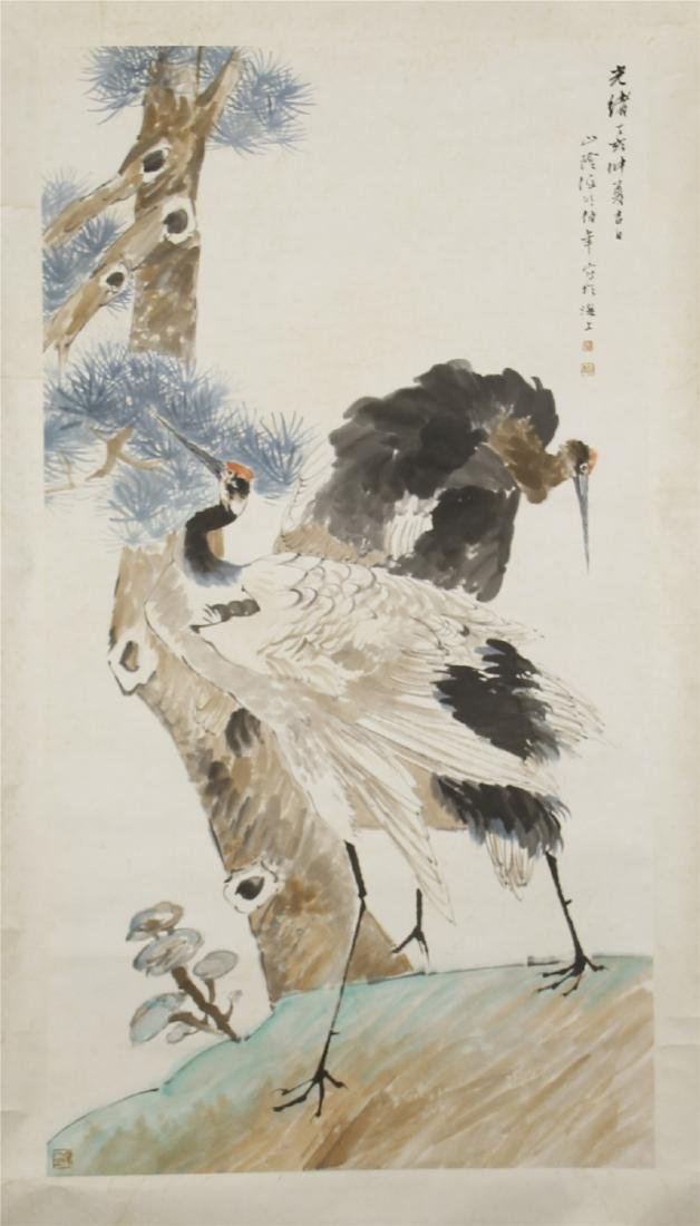 A  Chinese Paper Scroll Painting of Twin Cranes by Ren