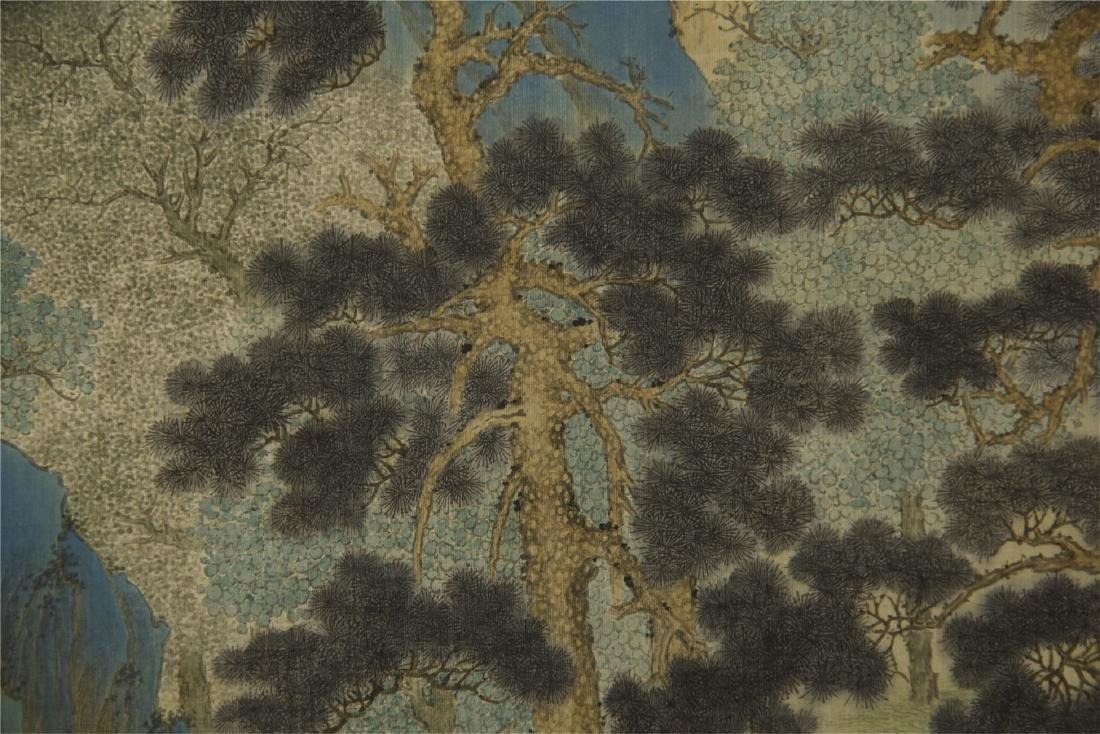 A Chinese Silk Scroll Painting of Landsape by Jin Cheng - 10