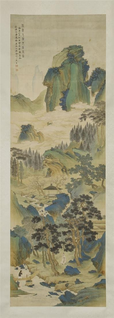 A Chinese Silk Scroll Painting of Landsape by Jin Cheng