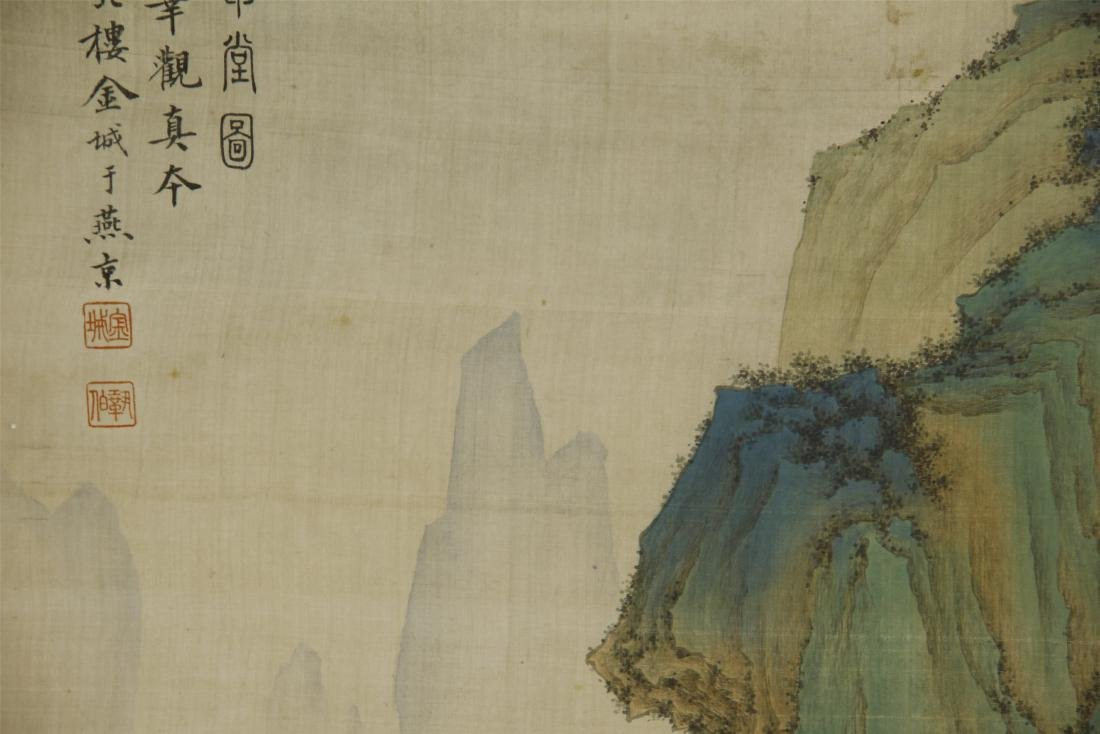 A Chinese Silk Scroll Painting of Landsape by Jin Cheng - 3