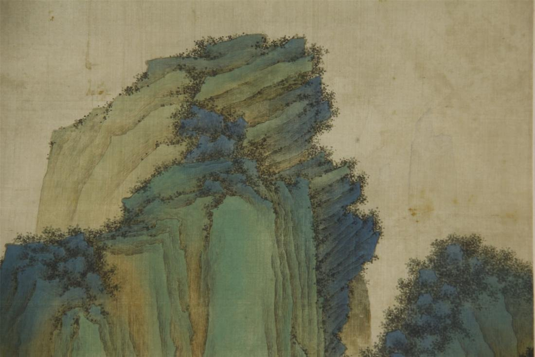A Chinese Silk Scroll Painting of Landsape by Jin Cheng - 4