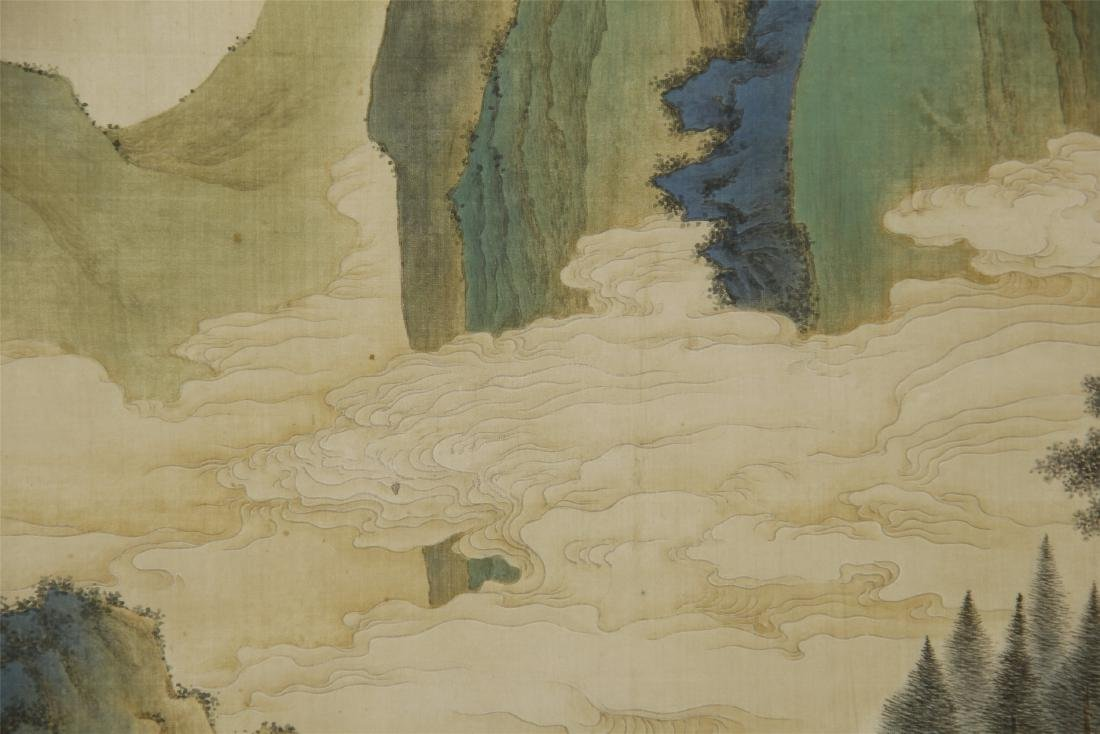 A Chinese Silk Scroll Painting of Landsape by Jin Cheng - 5