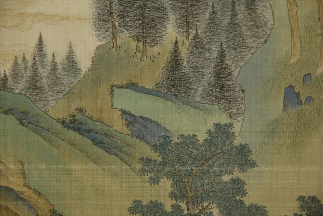 A Chinese Silk Scroll Painting of Landsape by Jin Cheng - 6
