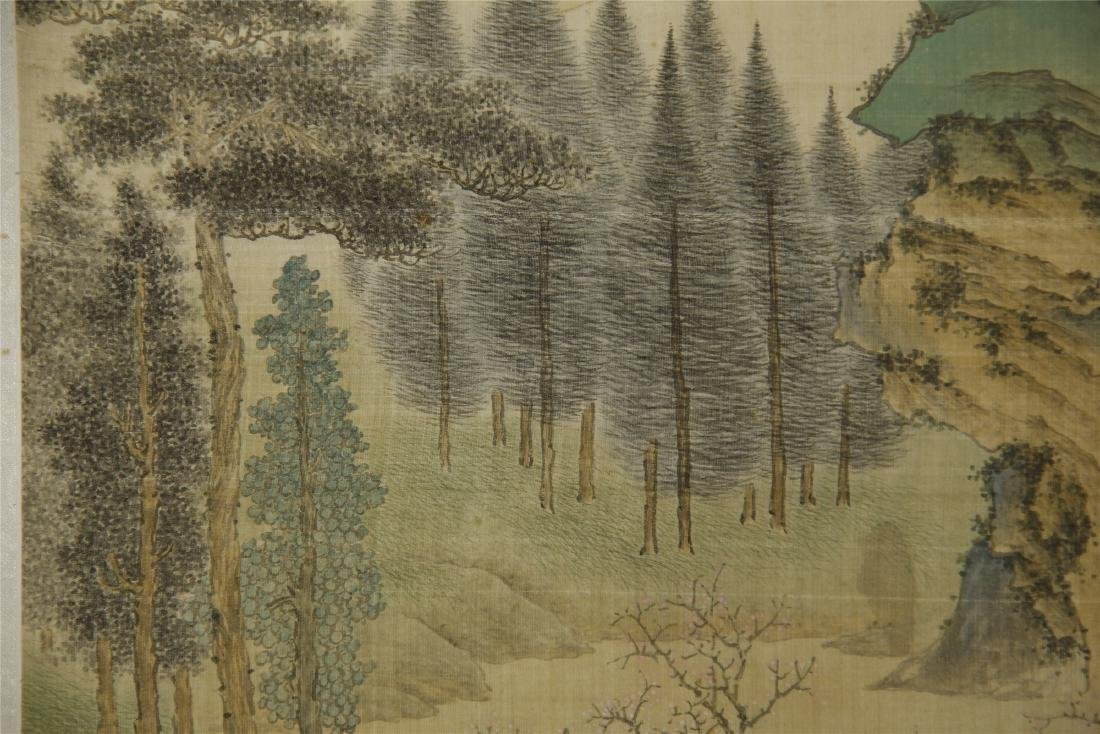 A Chinese Silk Scroll Painting of Landsape by Jin Cheng - 7