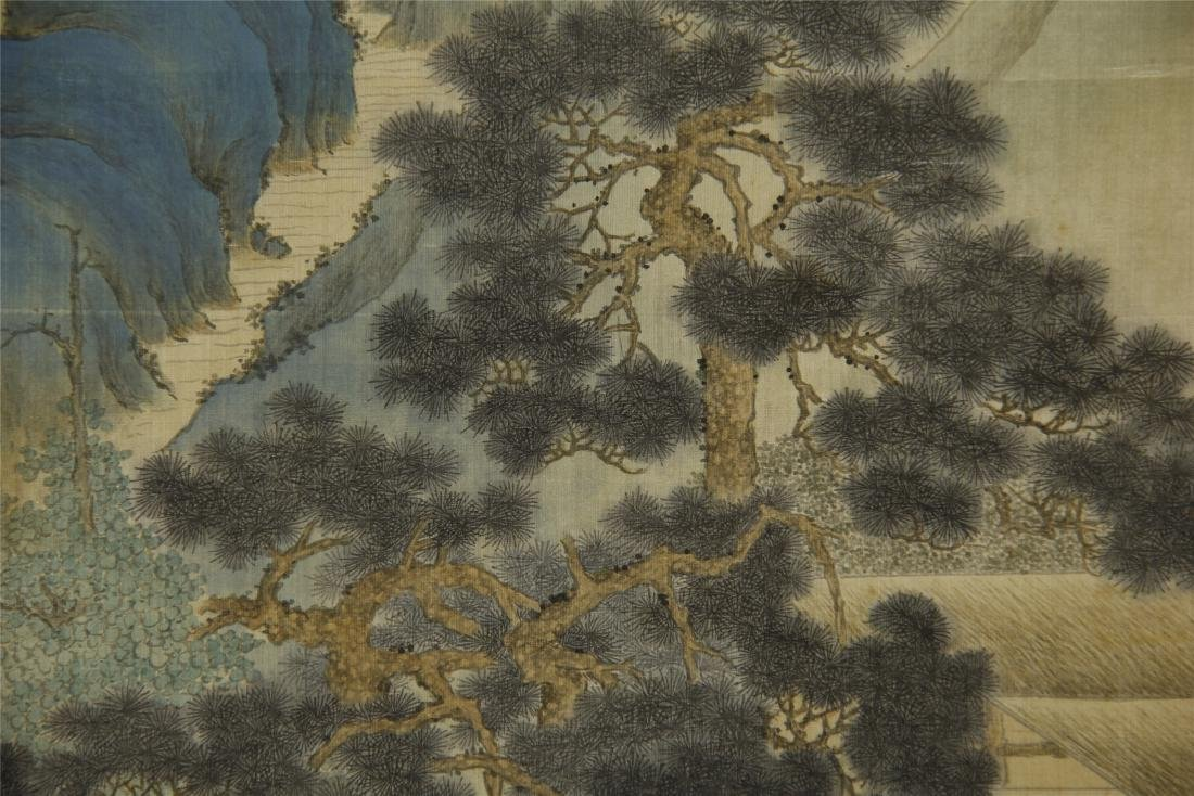 A Chinese Silk Scroll Painting of Landsape by Jin Cheng - 9