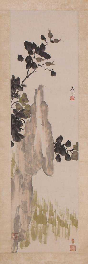A Chinese Scroll Painting of Flowers by Kang Sheng