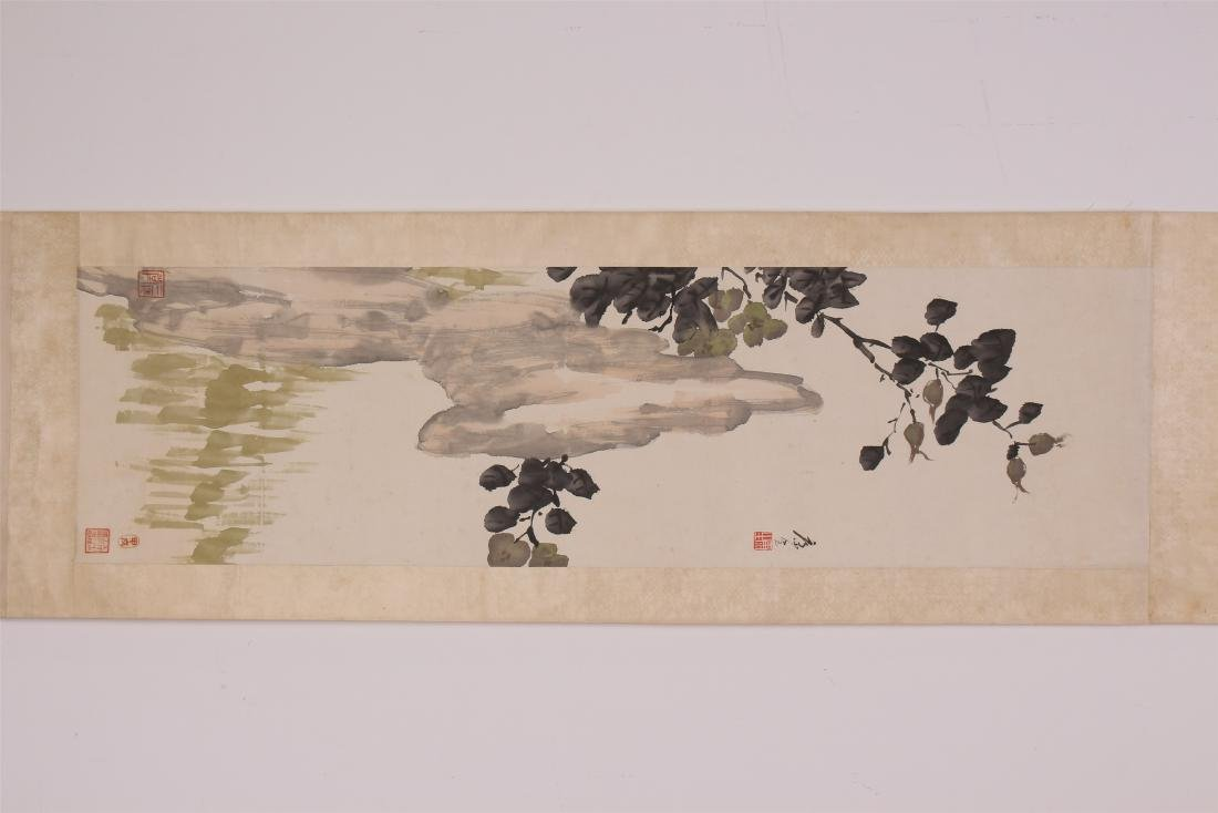 A Chinese Scroll Painting of Flowers by Kang Sheng - 2