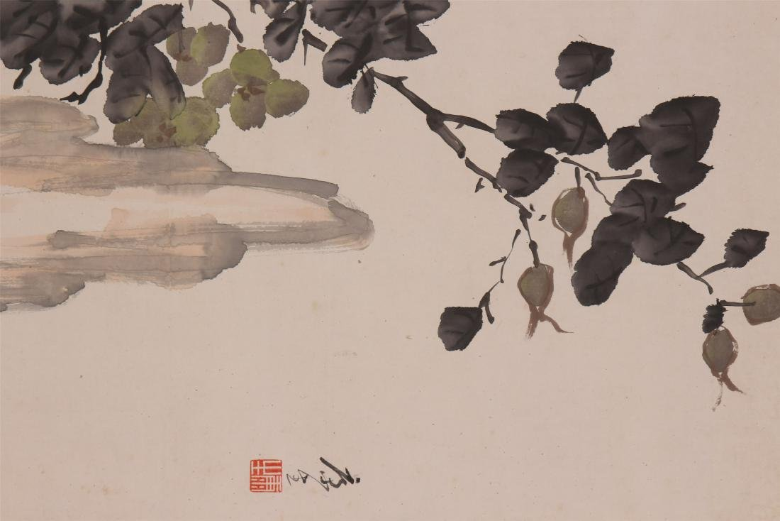 A Chinese Scroll Painting of Flowers by Kang Sheng - 3