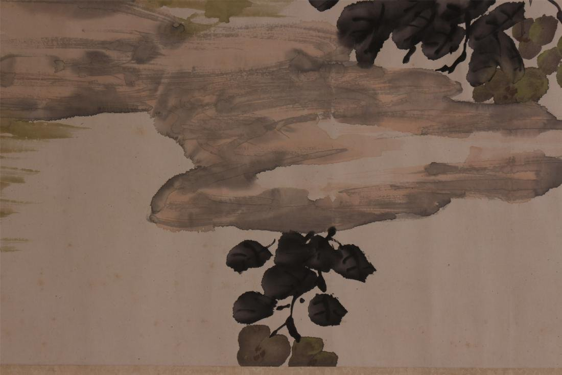 A Chinese Scroll Painting of Flowers by Kang Sheng - 5