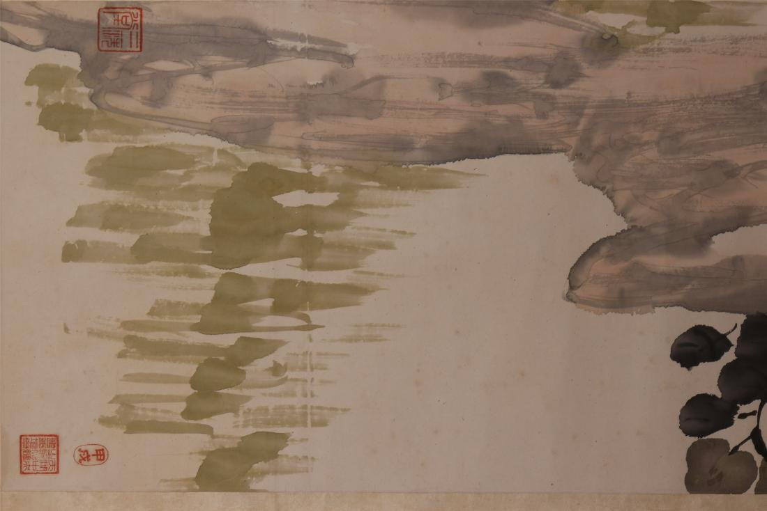 A Chinese Scroll Painting of Flowers by Kang Sheng - 6
