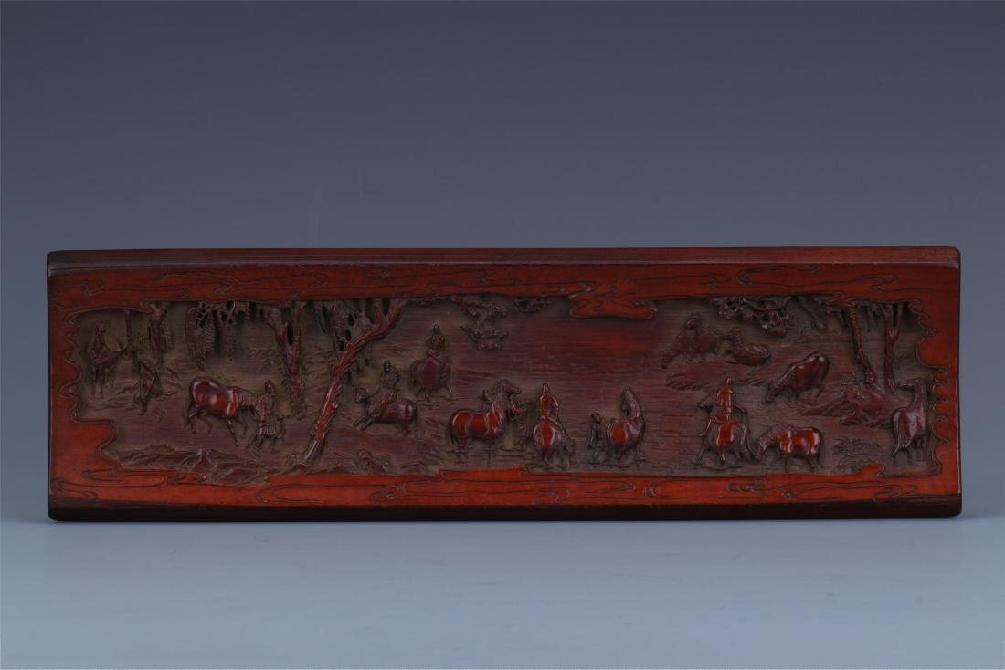 A Finely Carved Chinese Bamboo Wrist rest of  horses