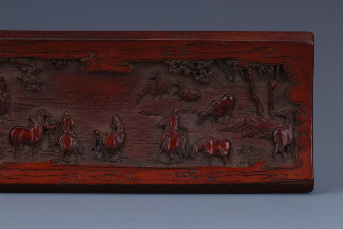 A Finely Carved Chinese Bamboo Wrist rest of  horses - 2