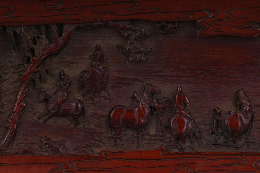 A Finely Carved Chinese Bamboo Wrist rest of  horses - 3