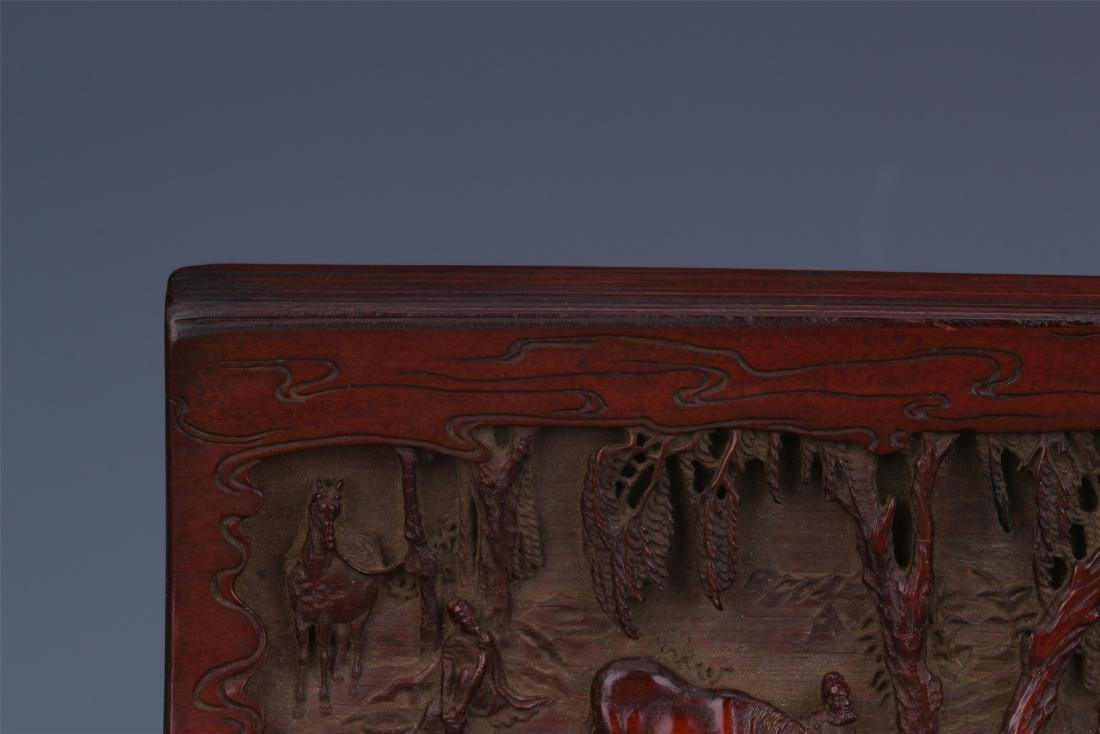A Finely Carved Chinese Bamboo Wrist rest of  horses - 4
