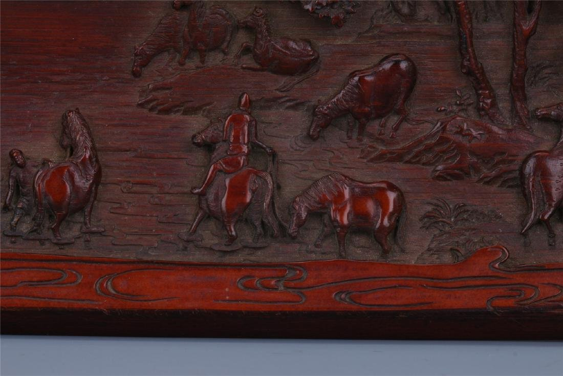 A Finely Carved Chinese Bamboo Wrist rest of  horses - 6