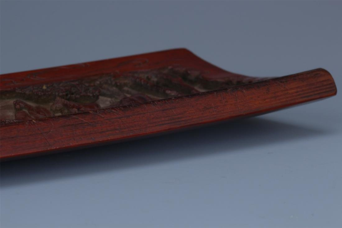 A Finely Carved Chinese Bamboo Wrist rest of  horses - 9