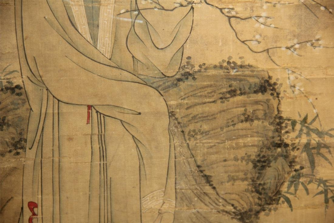 A Chinese Silk Scroll Painting of Figure and Flowers - 10