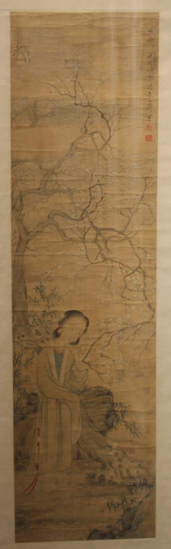 A Chinese Silk Scroll Painting of Figure and Flowers