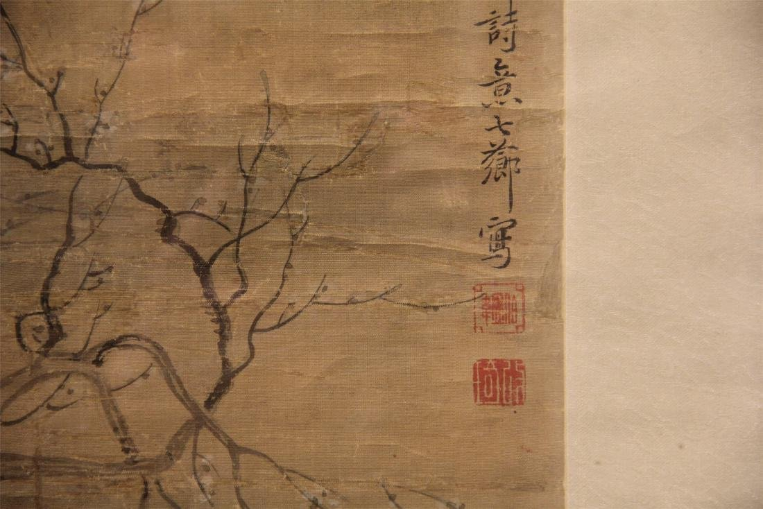 A Chinese Silk Scroll Painting of Figure and Flowers - 3