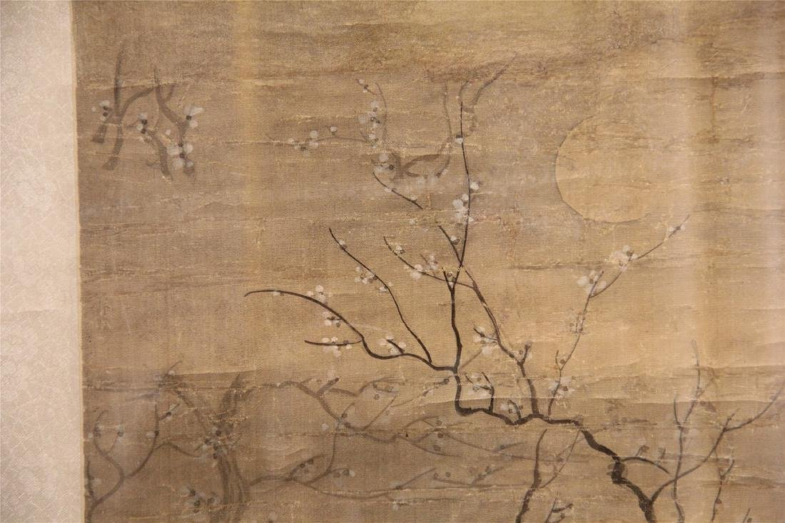 A Chinese Silk Scroll Painting of Figure and Flowers - 4