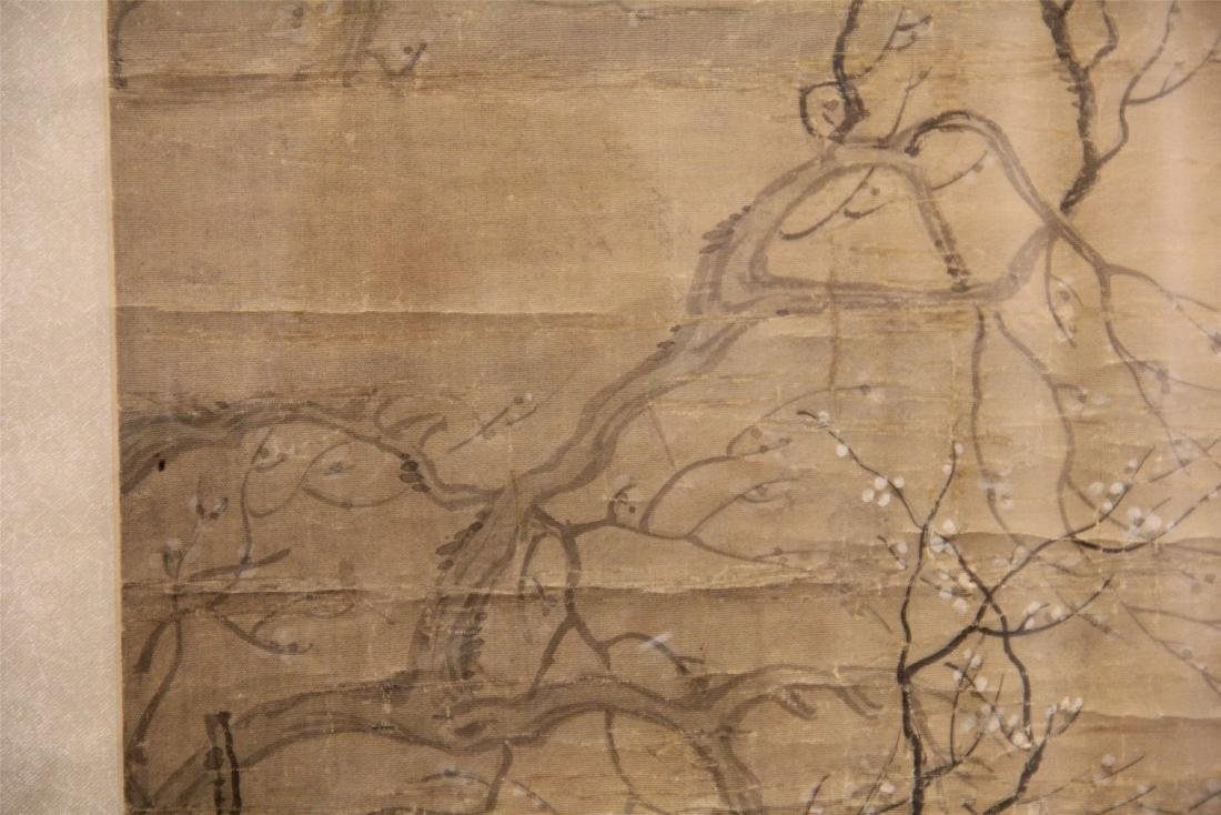 A Chinese Silk Scroll Painting of Figure and Flowers - 5