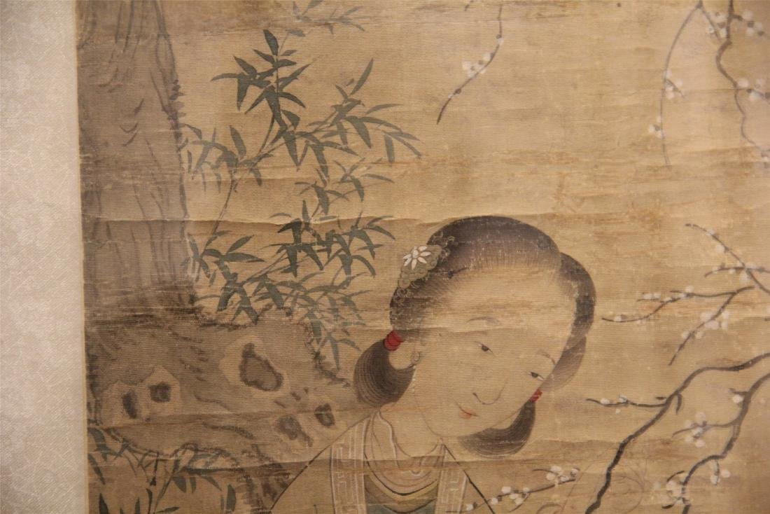 A Chinese Silk Scroll Painting of Figure and Flowers - 7