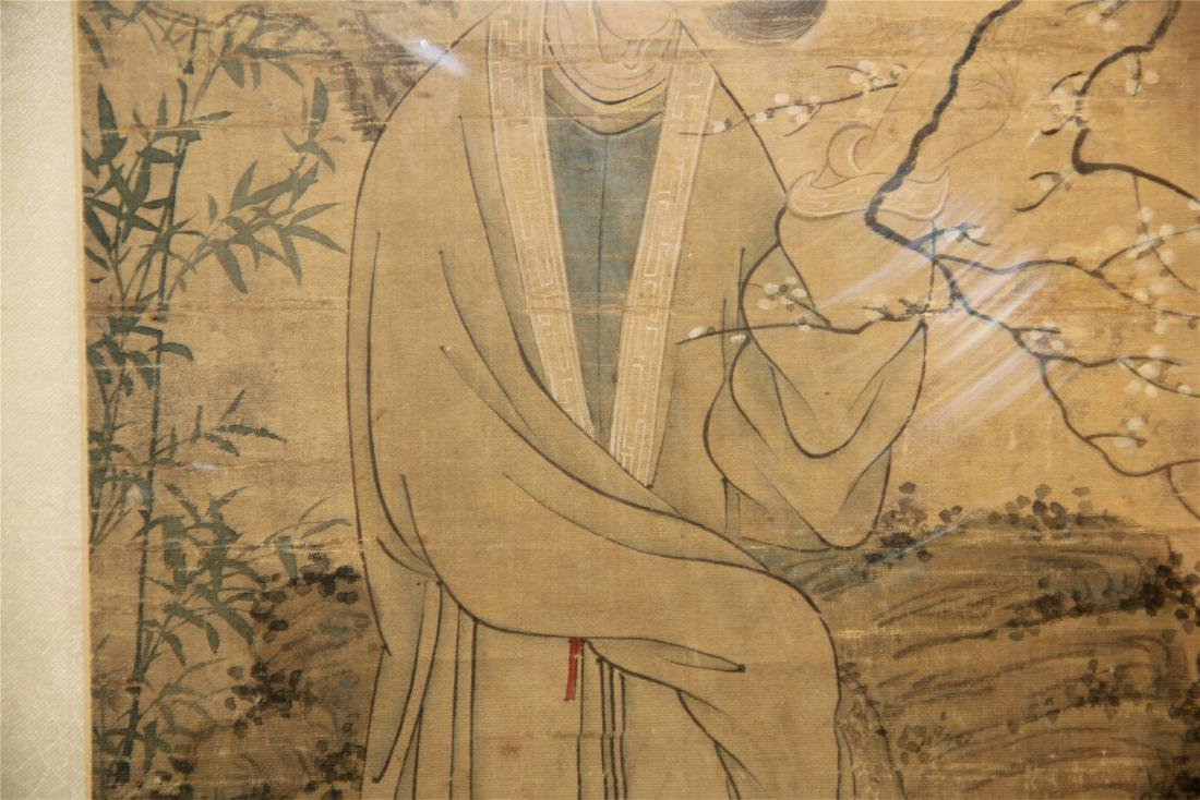 A Chinese Silk Scroll Painting of Figure and Flowers - 8