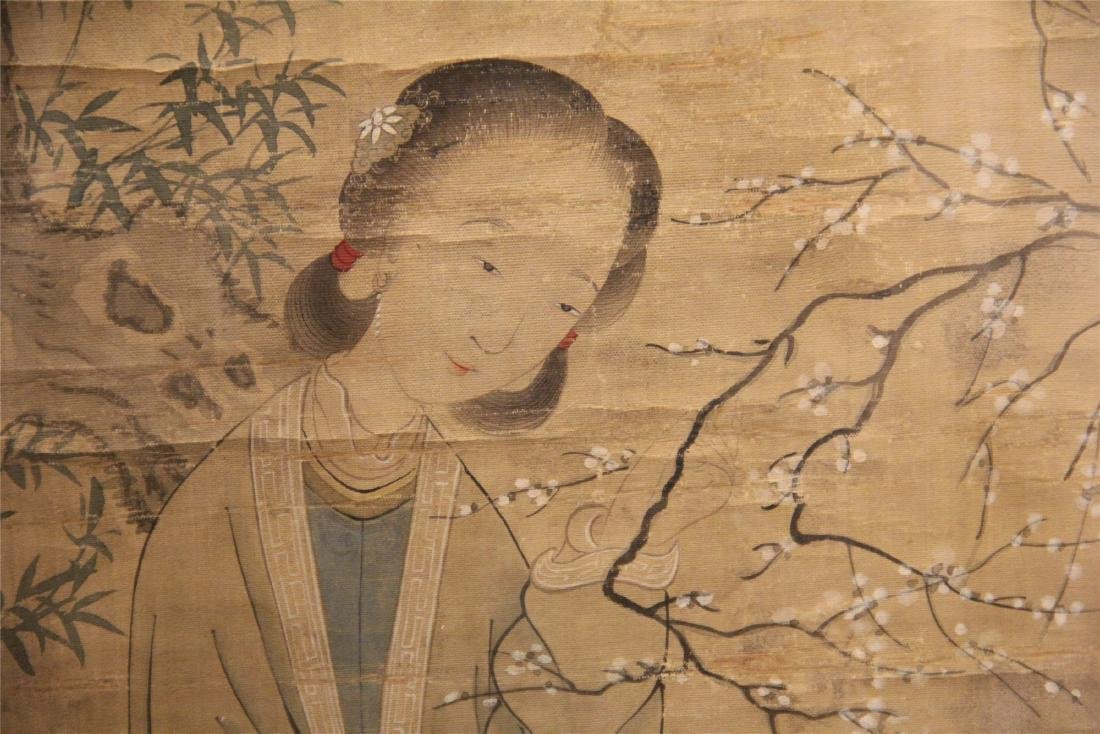 A Chinese Silk Scroll Painting of Figure and Flowers - 9