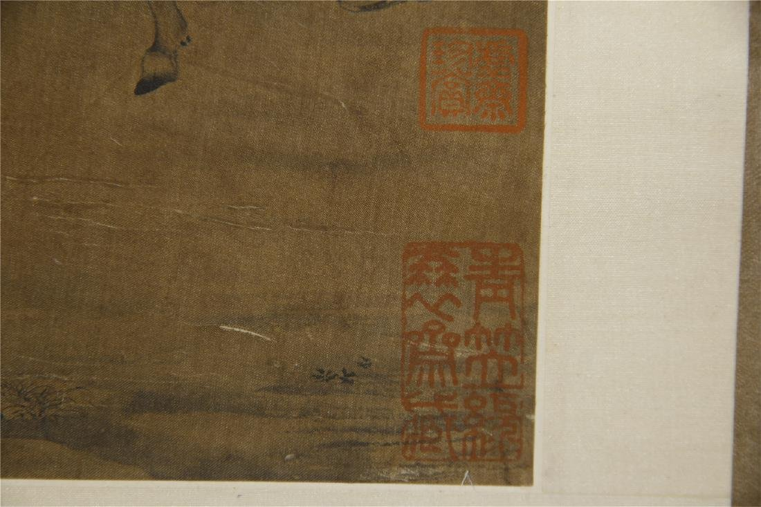 An Anonymous  Chinese Silk Scroll Painting of Twin Oxen - 10