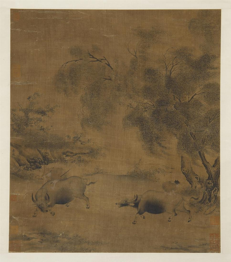 An Anonymous  Chinese Silk Scroll Painting of Twin Oxen