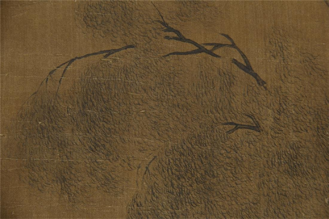 An Anonymous  Chinese Silk Scroll Painting of Twin Oxen - 5