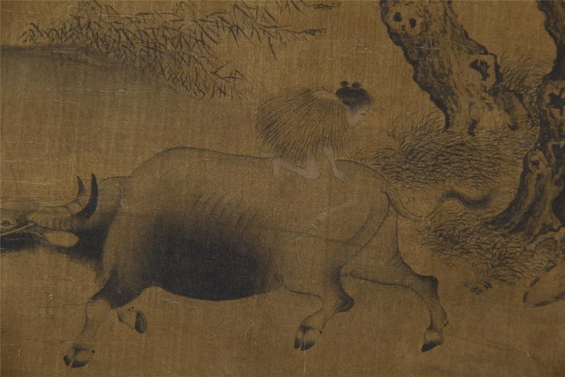 An Anonymous  Chinese Silk Scroll Painting of Twin Oxen - 7