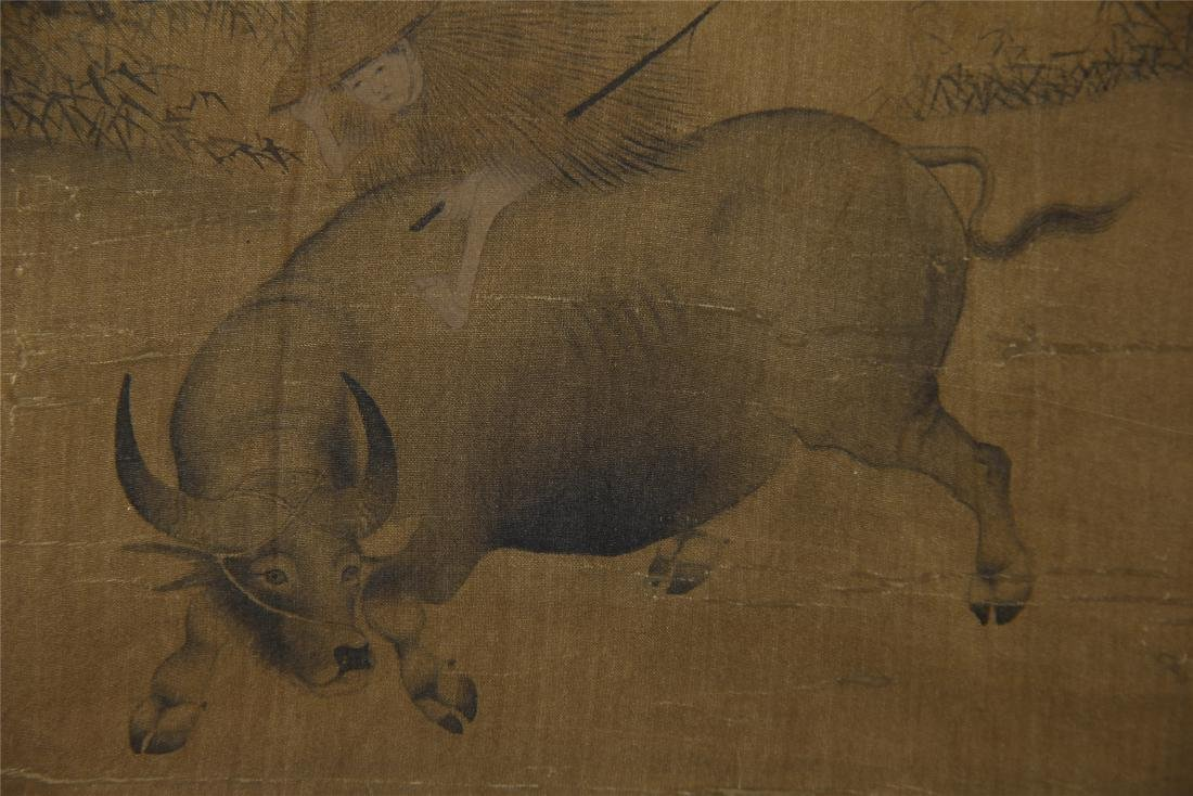 An Anonymous  Chinese Silk Scroll Painting of Twin Oxen - 8