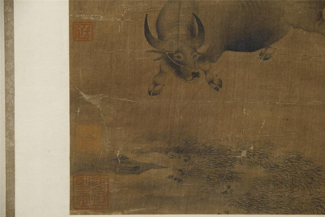 An Anonymous  Chinese Silk Scroll Painting of Twin Oxen - 9