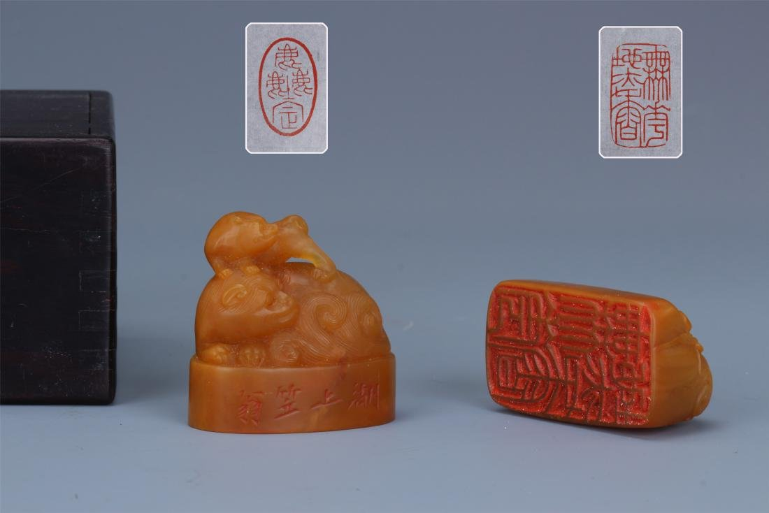 Two Chinese Carved Soapstone  Beast Seals