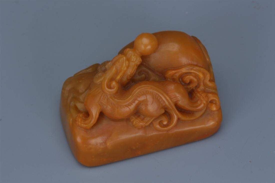 Two Chinese Carved Soapstone  Beast Seals - 9